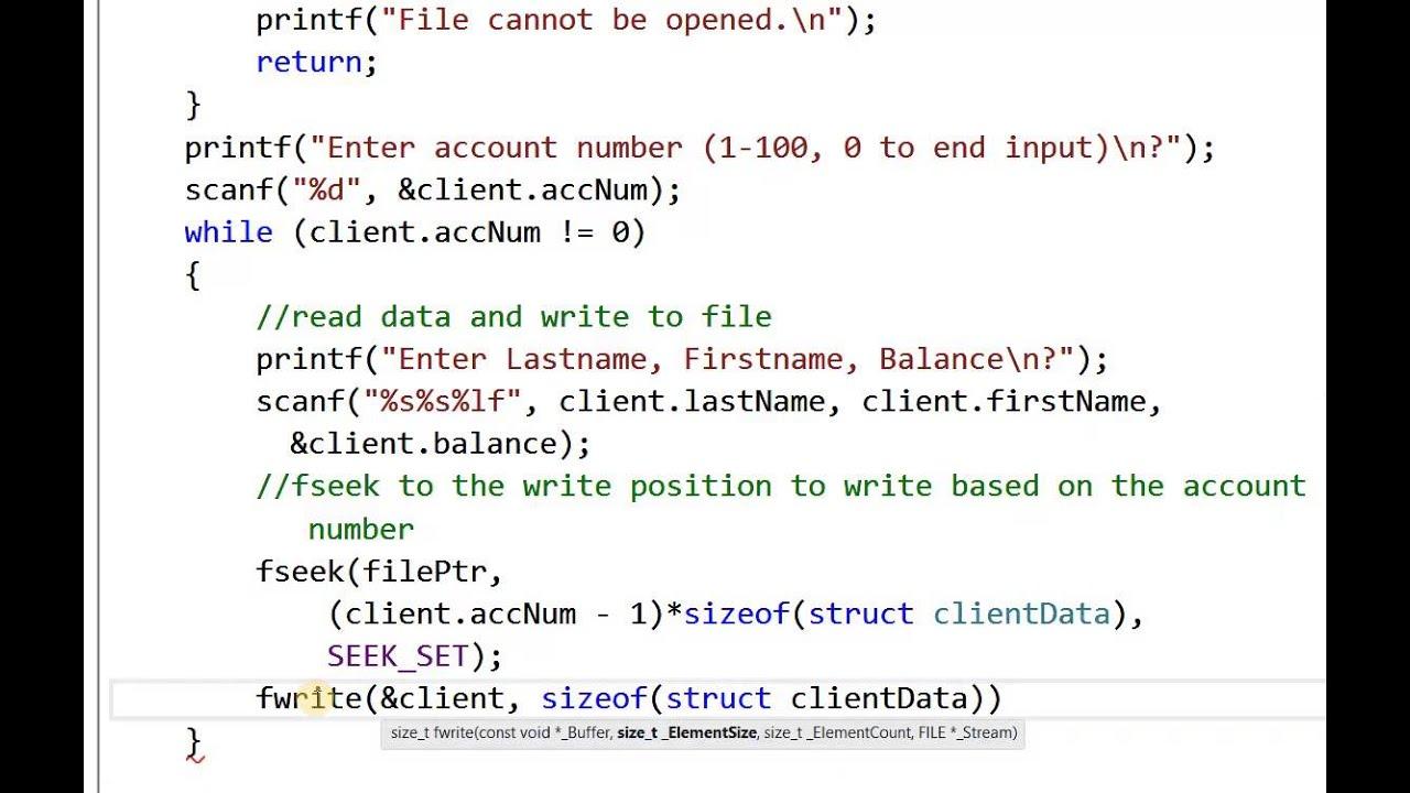 Read write to a Random Access File in C