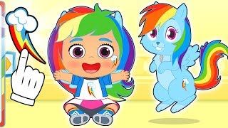 BABY PETS Ruby Dresses up as My Little Pony's Rainbow Dash 🌈🐴 Cartoons