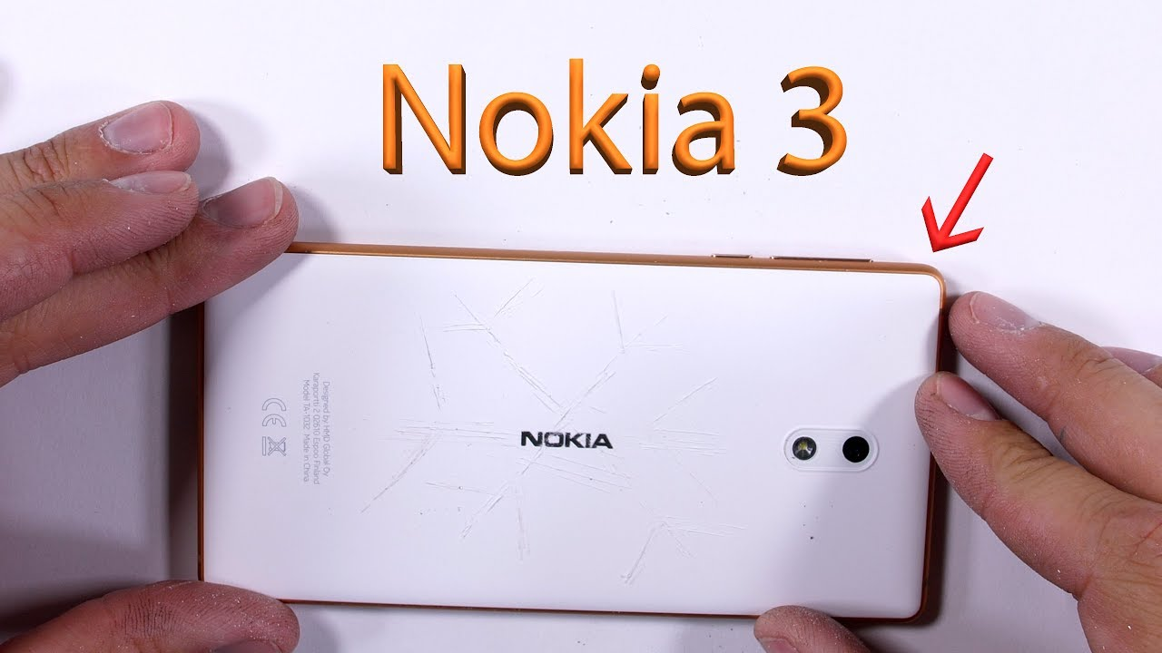 the latest 08852 5077a Nokia 3 Durability Test! Scratch - Burn - Bend Tested!