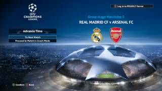 PES 2017 Uefa Champions League - Real Madrid vs Arsenal Match 5