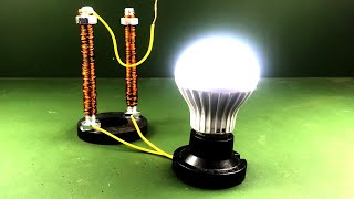 New 100% Free Energy Generator Self  Running By  Magnet With Light Bulb 220V