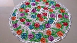 Easy multicolored spiral rangoli | Innovative rangoli designs | Poonam Borkar rangoli designs
