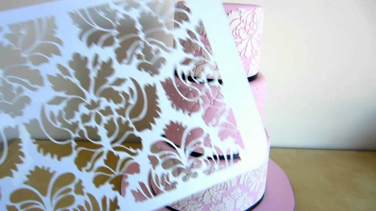 How To Use Damask Stencil On Cake