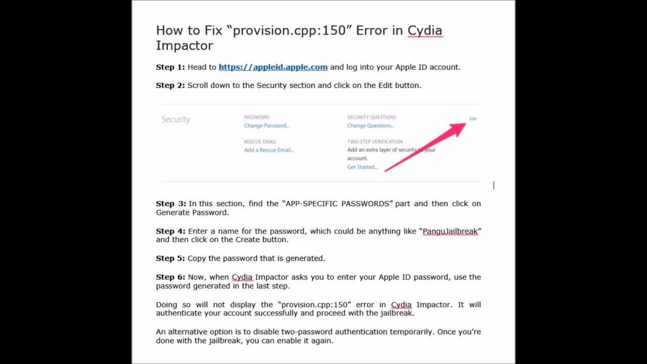 "How to Fix ""provision cpp:150"" Error in Cydia Impactor"