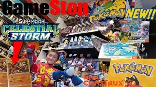 HUGE HAUL! HUNTING FOR NEW POKEMON CARDS & RARE TOYS INSIDE GAMESTOP!! FREE CELESTIAL STORM CARDS!