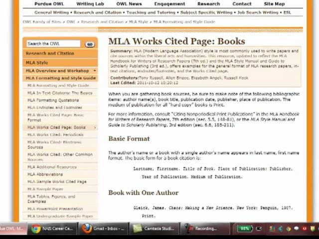 Mla Works Cited And In Text Citations - Lessons - Tes Teach - Mla Work Cited Book