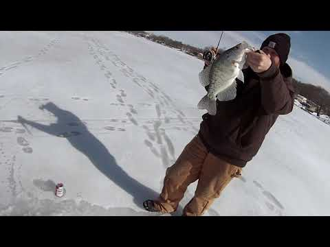 Ice Fishing For Giant Crappie And Big Walleye In Southern Iowa!