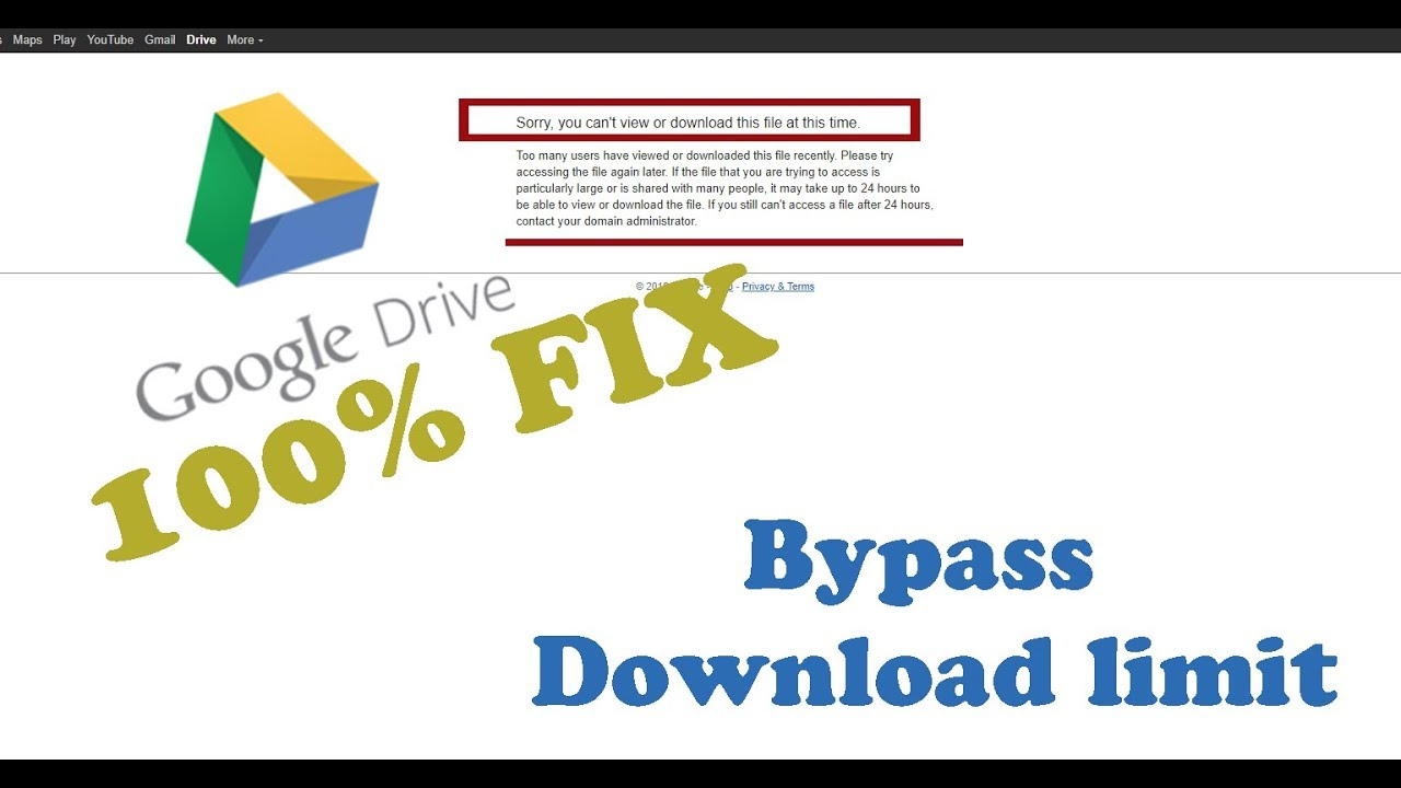 [FIX] Google Drive Download Quota Exceeded || 100% Fixed By Pass Download  Limit ||