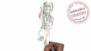 Как нарисовать монстра девушку хай за 36 секунд