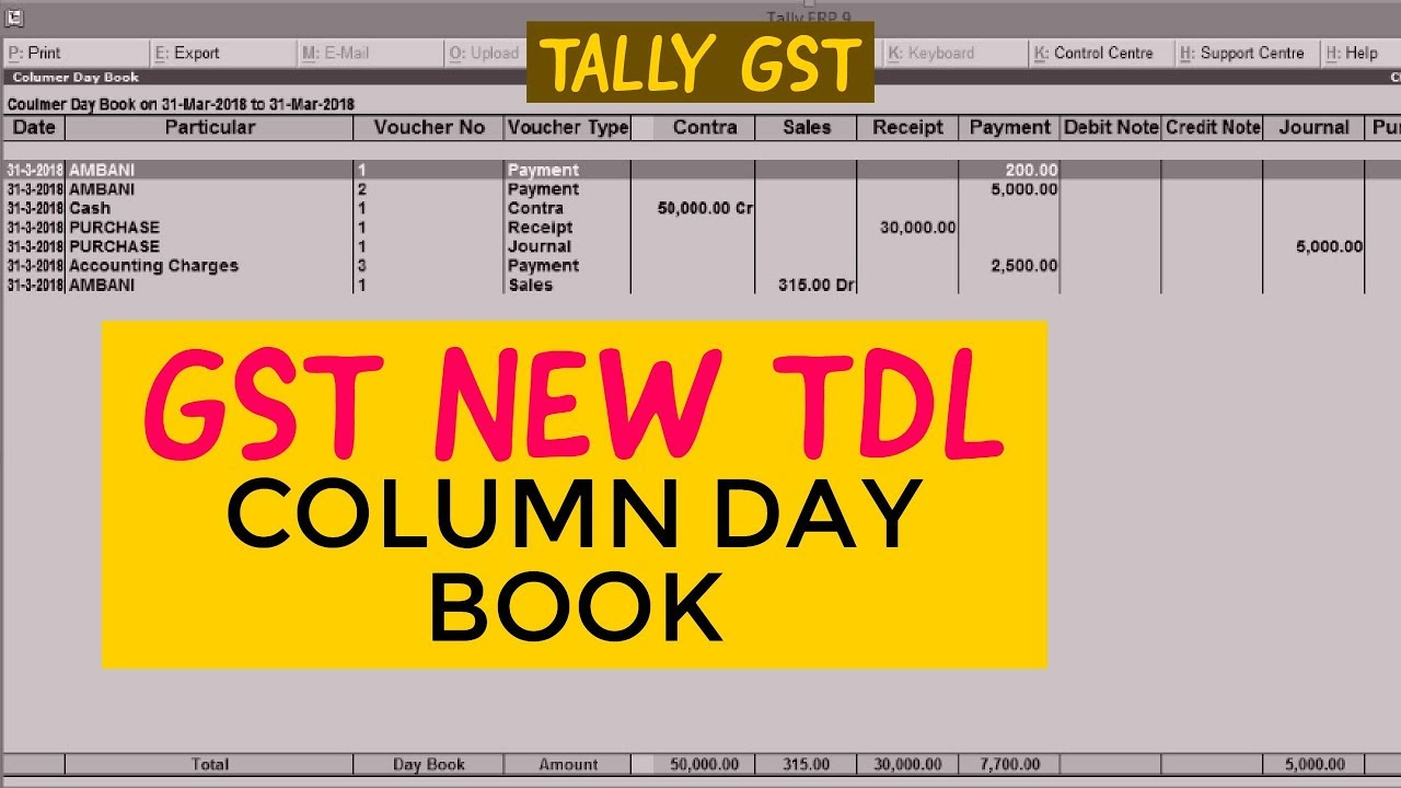how to add column in tally erp 9