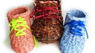 ═► Плетение из газет ботинка. Часть 1.