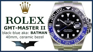▶ Rolex GMT Master II BLNR REVIEW - Batman Black Blue Ceramic bezel 116710BLNR Steel