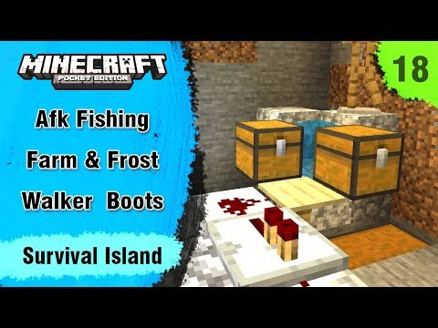 Survival Island #18 - AFK Fishing Farm & Frost Walker Boots - Minecraft PE | In Hindi