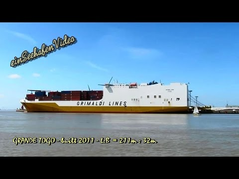 car & container carrier GRANDE TOGO IBNN IMO 9465370 Emden Ro Ro cargo ship merchant vessel