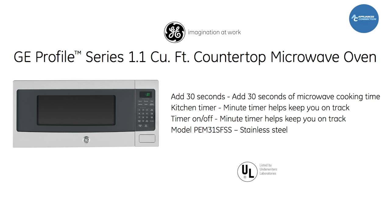 ge profile series 1 1 countertop microwave oven pem31sf at www appliancesconnection com