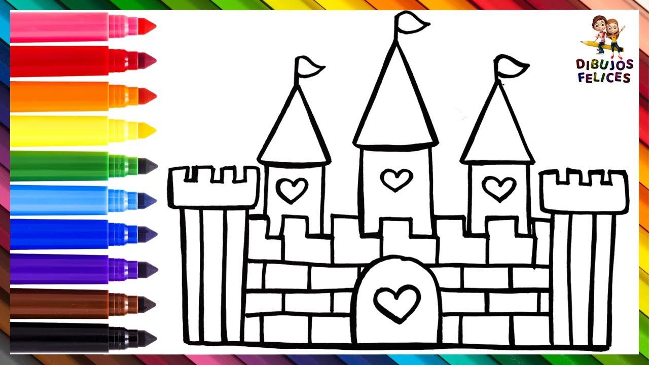 Cómo Dibujar Un Castillo 🏰 Dibuja y Colorea Un Castillo Arcoiris 🌈 Dibujos Para Niños