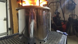 2/3 $25 Diy How To Stainless Steel Pellet Gasifier Stove Cheap Easy Portable PELLET TEST BURN