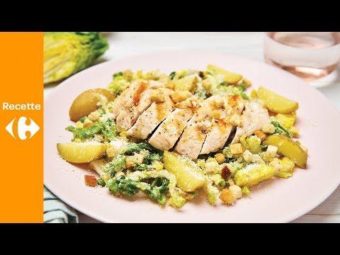 salade-césar-au-poulet-grillé,-pommes-de-terre-ratte-et-vinaigrette-aux-anchois