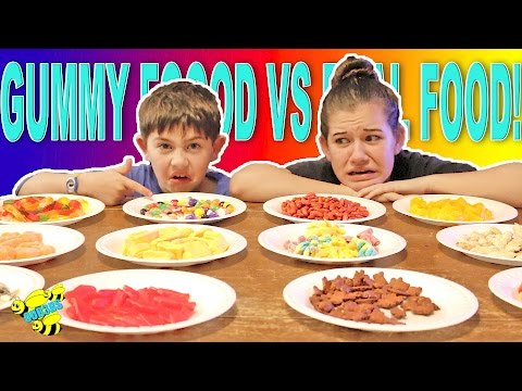 Thumbnail: GUMMY FOOD VS REAL FOOD CHALLENGE! EATING GROSS FOOD CANDY