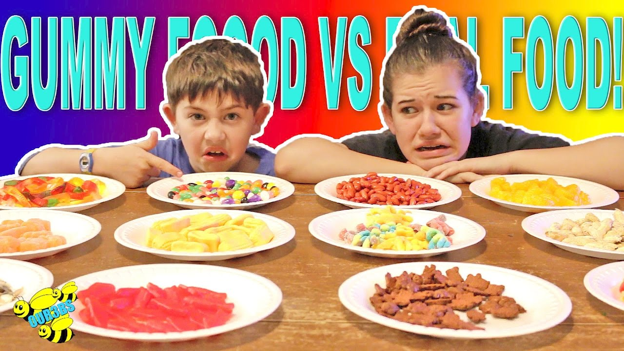 Gummy food vs real food challenge eating gross food candy for Cuisine vs food