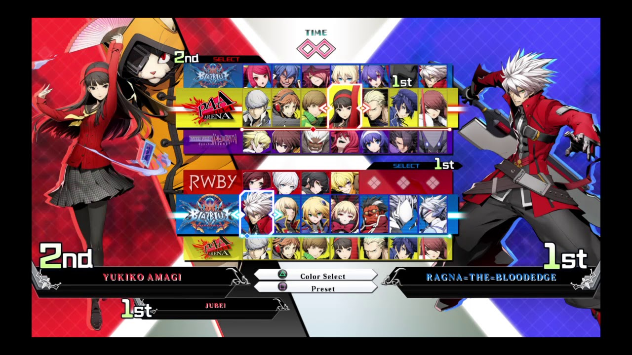 BLAZBLUE CROSS TAG BATTLE - Character Select