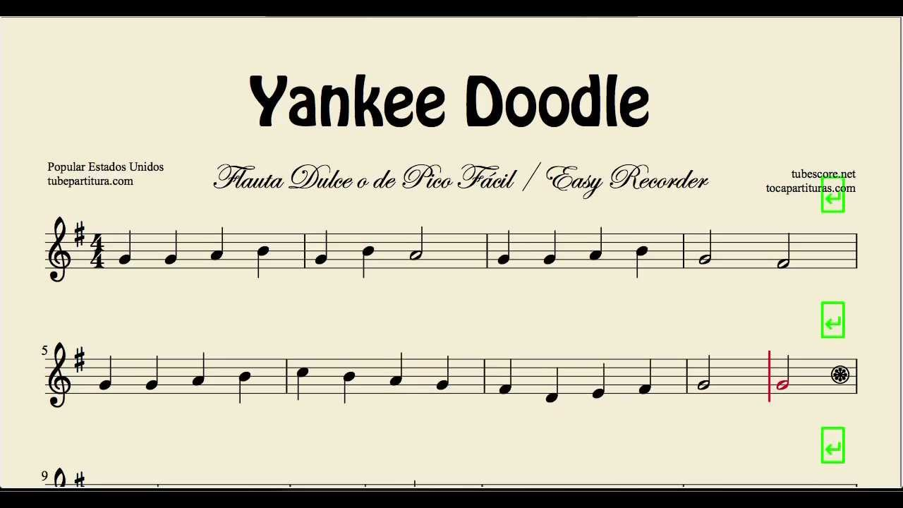 flute easy music song sheet yankee doodle folk flauta notes partitura songs play recorder beginners beginner dulce