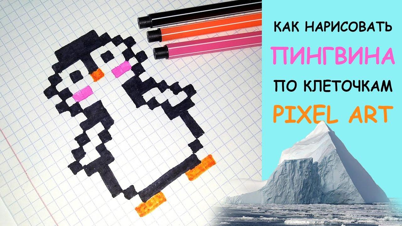 Как нарисовать ПИНГВИНА по клеточкам. #8 - Pixel art ...