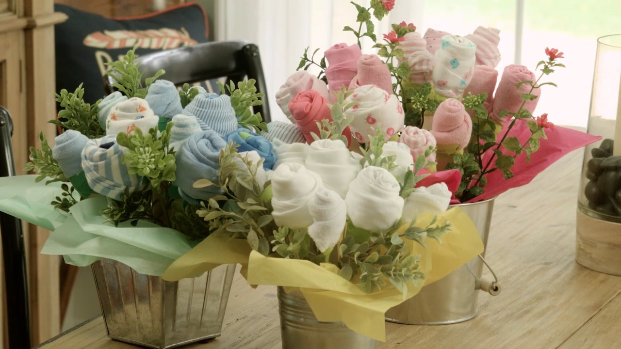 Diy baby onesie floral arrangement tutorial youtube diy baby onesie floral arrangement tutorial negle