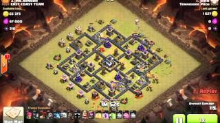 Clash of Clans th9 golaloon 3 stars WAR attack new hero update 2016