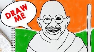 Mahatma Gandhi Jayanti De Dibujo Fácil | Cómo Dibujar Gandhi