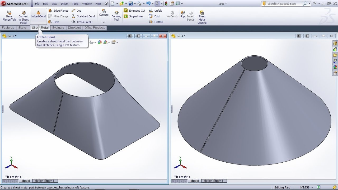Solidworks Lofted Bend Tutorial Solidworks Sheet Metal