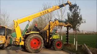 Tractor Mounted Post Hole Digger--fence pole drilling ,Pole hole digging machine