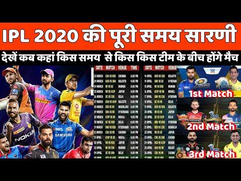IPL 2020: 29 मार्च को पहला मैच, 24 मई को खेला जाएगा फाइनल,देखे सभी टीमो के मैचो का शेड्यूल
