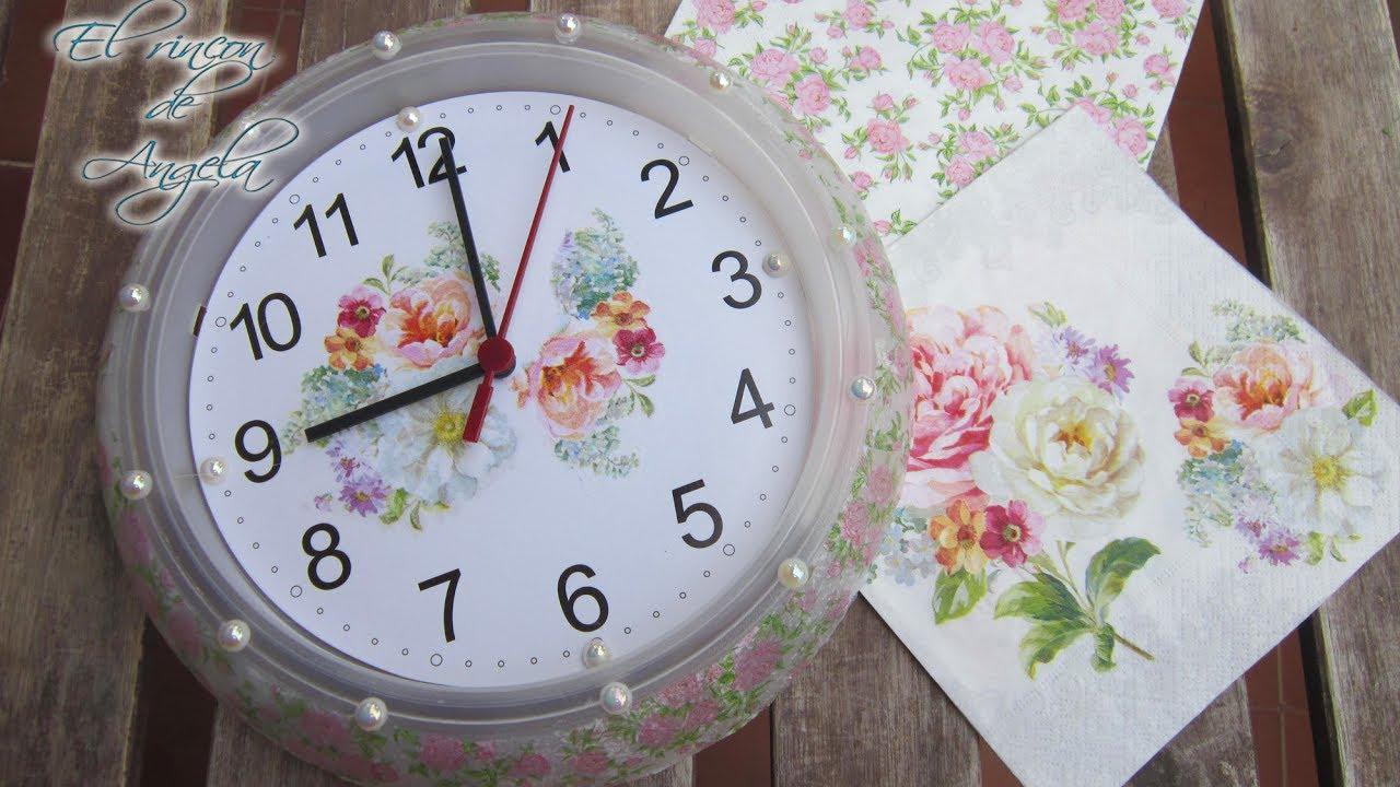 Como personalizar un reloj de pared con decoupage youtube - Relojes para decorar paredes ...