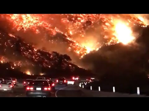 Highway to Hell  Driver films terrifying wildfire in Los Angeles