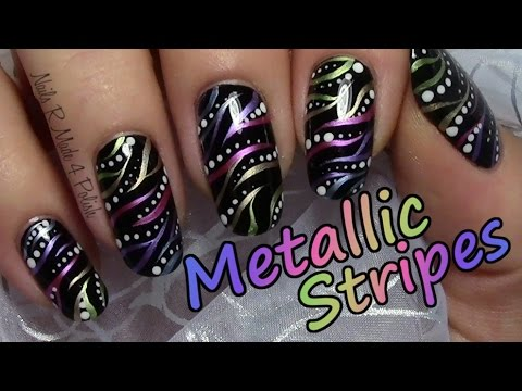 colorful stripy nails with dots