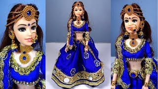Barbie in BLUE BRIDAL LEHENGA | How to decorate barbie doll with Indian bridal lehenga and jewellery