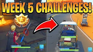 Fortnite ALL WEEK 5 CHALLENGES GUIDE! - RADAR SIGNS Locations, Secret Star (Battle Royale Season 6)