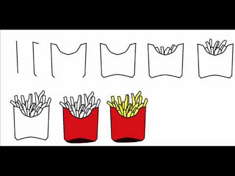 How To Draw French Fries Step By Step Drawing Tutorial - YouTube