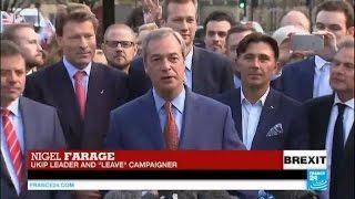 "Brexit vote: UKIP leader Nigel Farage hails British voters, declares ""UK"
