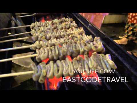 grilled chicken intestine  Thai style  Isaw ng Manok street food