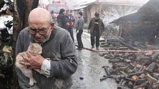 火事で我が家を失ったおじいちゃん。生き残った「家族」を抱きしめる姿...