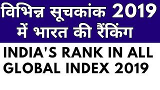India's rank in different index || global index 2019