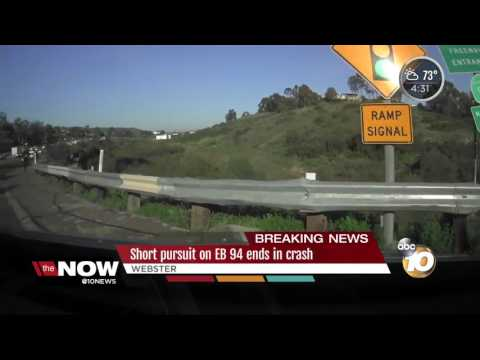 Three give chase after crashing into rail near 94 East