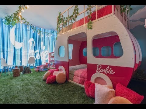 Staying In A BARBIE Themed Hotel Suite Room Tour! Barbie Dreamhouse!