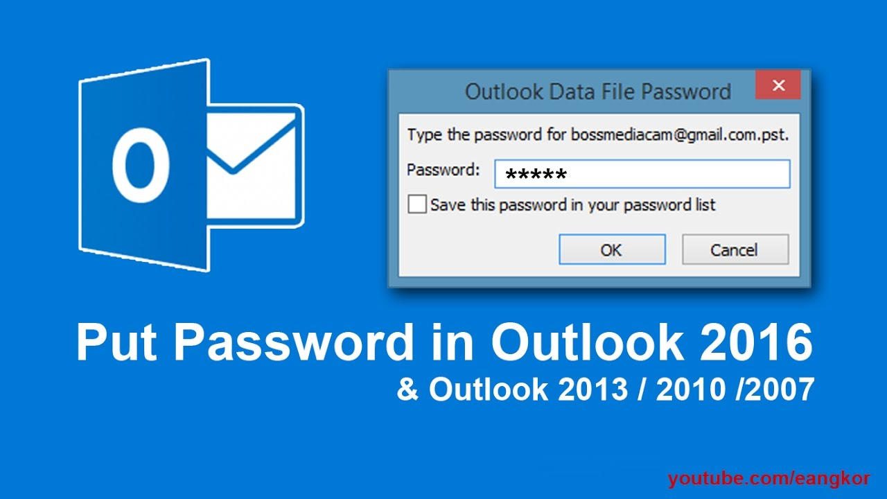 How to protect password in Outlook 2016 ( can use on Outlook 2013 or 2010  too)