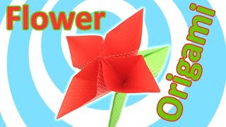 Easy Origami Flower 🌸 with Stem💐(Tutorial for Kids)