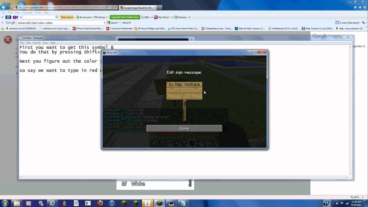 How To Write In Color On Minecraft 125 Youtube