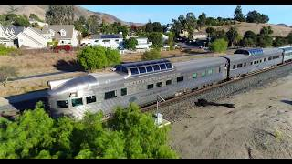 Drone chasing Coast Starlight with Zephyr Cars into SLO