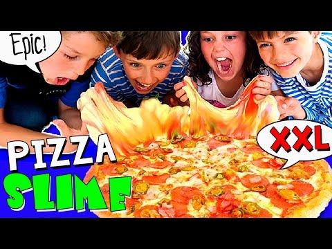 🍕 ¡¡PIZZA GIGANTE de SLIME!! (sin BÓRAX) 🍕 Hacemos una PIZZA XXL de MOCO 😱 ¡Fluffly Butter SLIME!